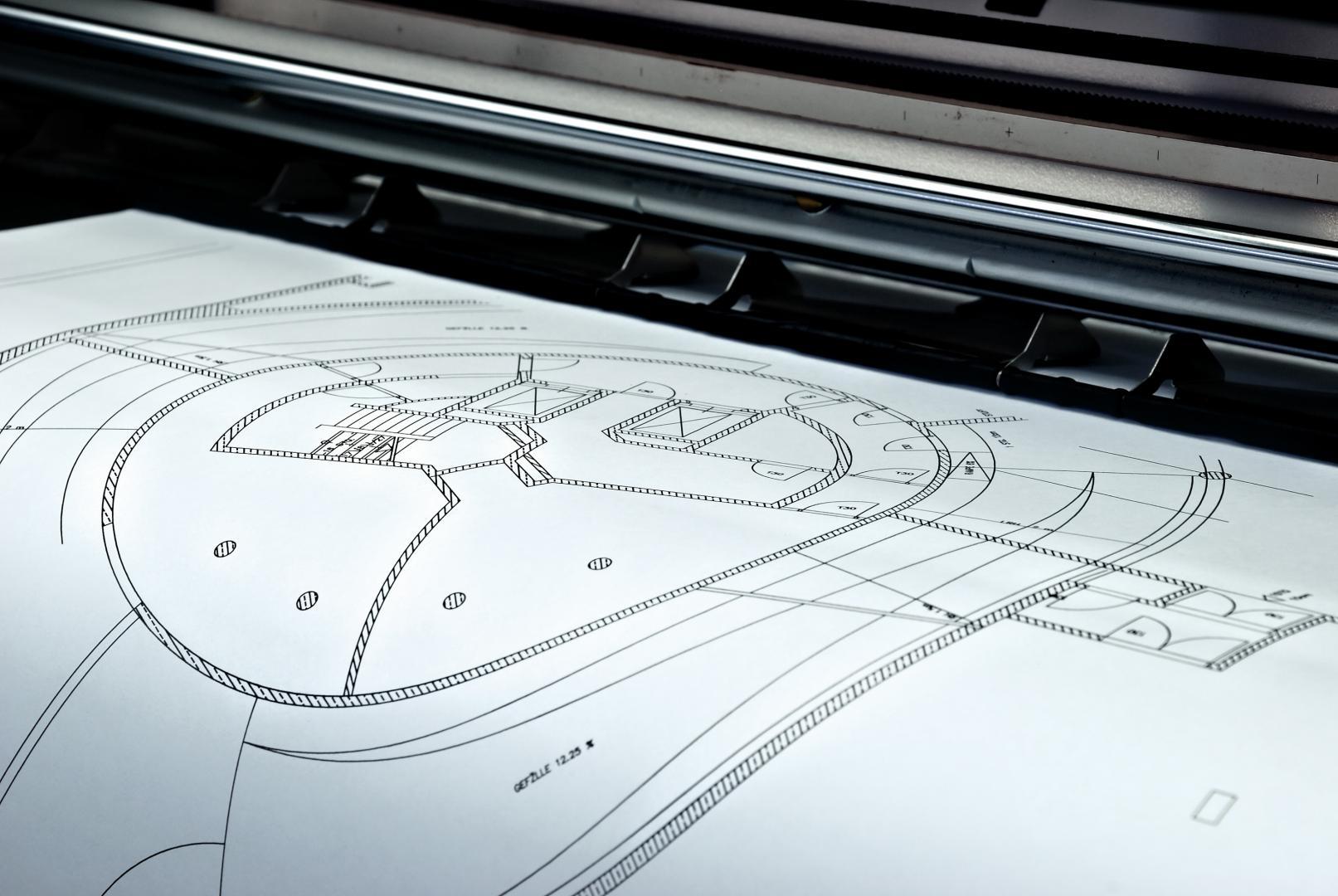 réalisation et impression d'images et de posters. Impression de plan de construction.